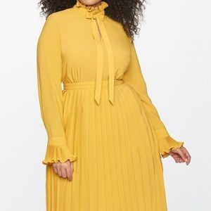 Elegant Eloquii Mustard Pleated Dress Office Party